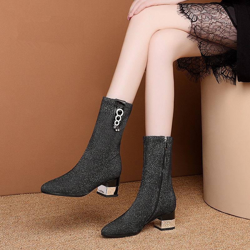 Elastic Boots Woman MID Heels Sock Boots Women Booties Autumn/Winter Shoes Pointed toe Rhinestone 2020 Female Footware BLACK brand women boots pointed toe flat shoes autumn winter purple blue orange boots short ladies western mid calf boots for women