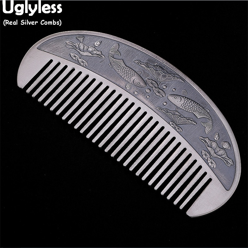 Uglyless Asian Beauty Ethnic Fishes Lotus Pond Real 999 Pure Silver Combs for Women Carved Buddhisti