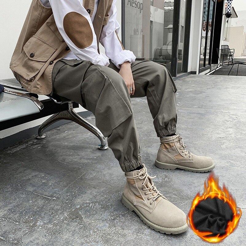 E-BAIHUI мужские брюки осенние новые стильные корейские брюки с большим карманом рабочие брюки мужские хлопковые Свободные повседневные брюки... olive e miele повседневные брюки