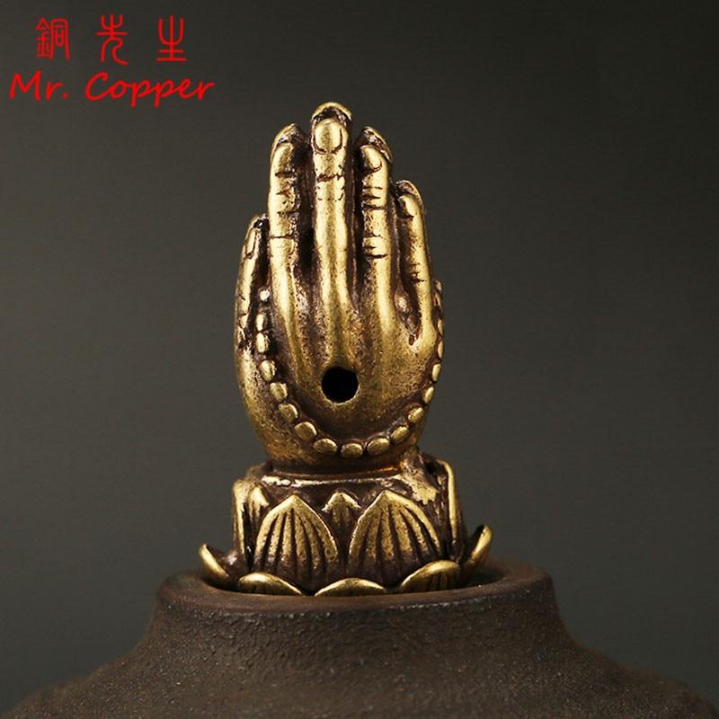 Budismo de cobre antiguo oración mano estatua palmas juntos adornos Vintage cobre Buda bendición manos figuras escritorio Decoración