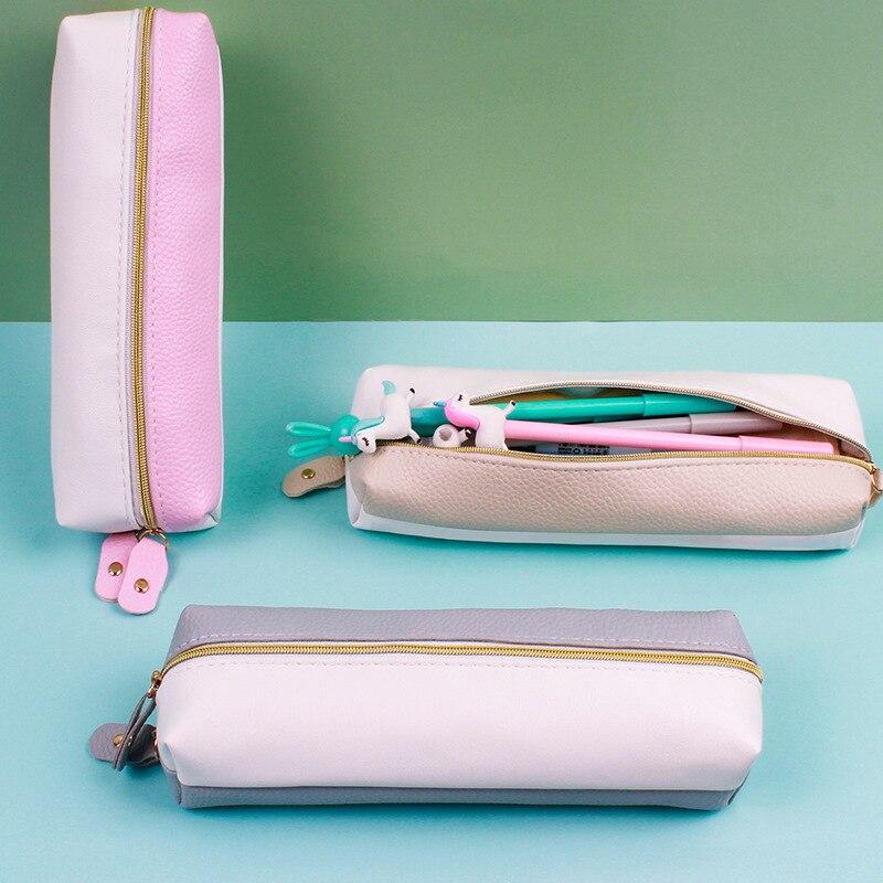 Чехол для карандашей и ручек из искусственной кожи, простой цветной чехол, чехол для хранения ручек, ластиков, канцелярские принадлежности, ... чехол