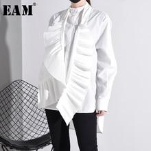 [EAM] blusa blanca plisada de talla grande con cuello alto nueva camisa holgada de manga larga moda Primavera otoño 2020 YG6380
