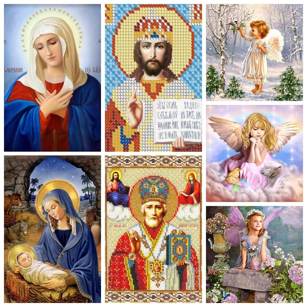 Cuadro de diamantes 5d con Ángel Religous Jesus Virgin Mary, imágenes de diamantes de imitación pintados por números para adultos y niños