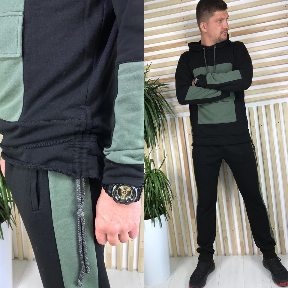 2020 Men New Style Tracksuit Casual Hooded Trendy Pullover+Casual Personality Small Leg Trousers Splice Set