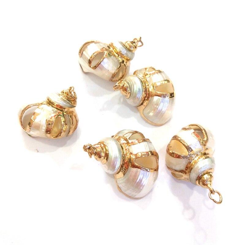 2020 colgantes de concha de caracola natural con joyería de Metal de color dorado para pulseras o collares DIy tamaño 20x30-30x30mm
