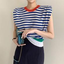 Cardigan Sweater Korean Chic Minority Temperament Round Neck Color Contrast Stripe T-shirt Slim Shou