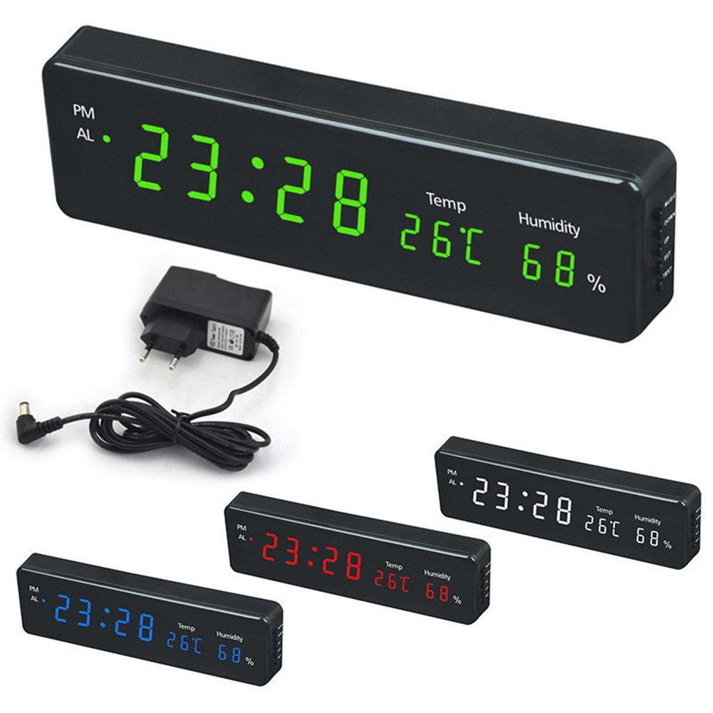 MeterMall Electronic LED Digital Wall Clock with Temperature Humidity Display Home Clocks European Plug
