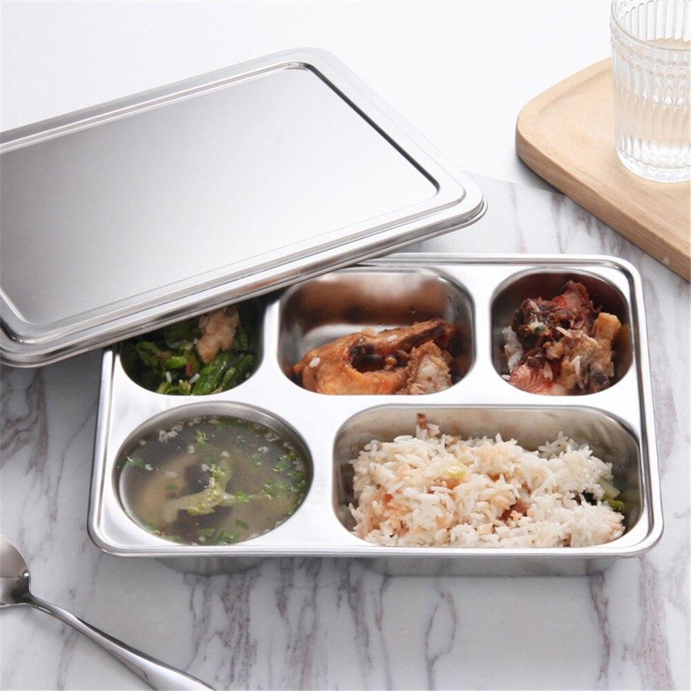 Bandeja de aço inoxidável dos recipientes de alimento da placa com compartimentos sliver bento lancheira boxs com tampa para utensílios de mesa do restaurante da cantina