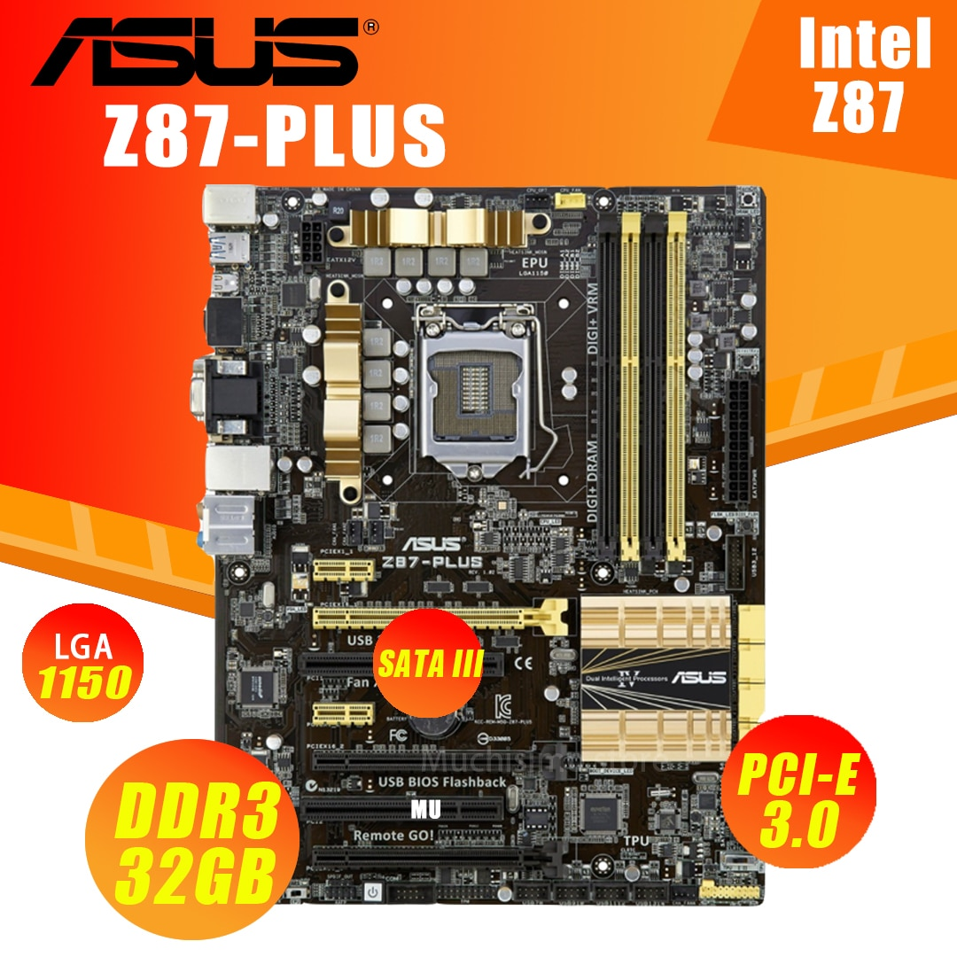 ASUS Z87-PLUS اللوحة LGA 1150 كور i7/i5/i3 32 جيجابايت DDR3 SATA III VGA DVI سطح المكتب Z87 بلاسا-mp2 e 1150 ATX تستخدم USB3.0