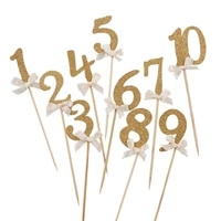 10pcs gold glitter number cupcake toppers gifts picks 2nd baby shower kids favors 2 year old kids two birthday party supplies