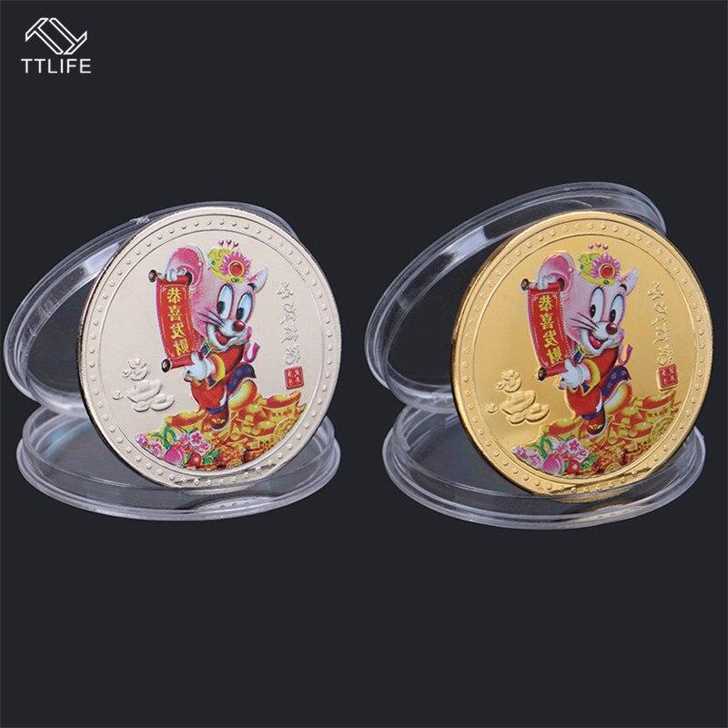 TTLIFE moneda conmemorativa China rata zodiacal oro/plata 2020 monedas de recuerdo artístico monedas redondas del zodiaco accesorios de decoración del hogar