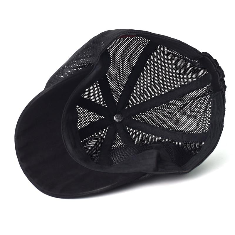 Summer Mesh Newsboy caps Breathable Casual Outdoor Retro Beret Hats Octagonal hat Fashion Solid Flat Caps