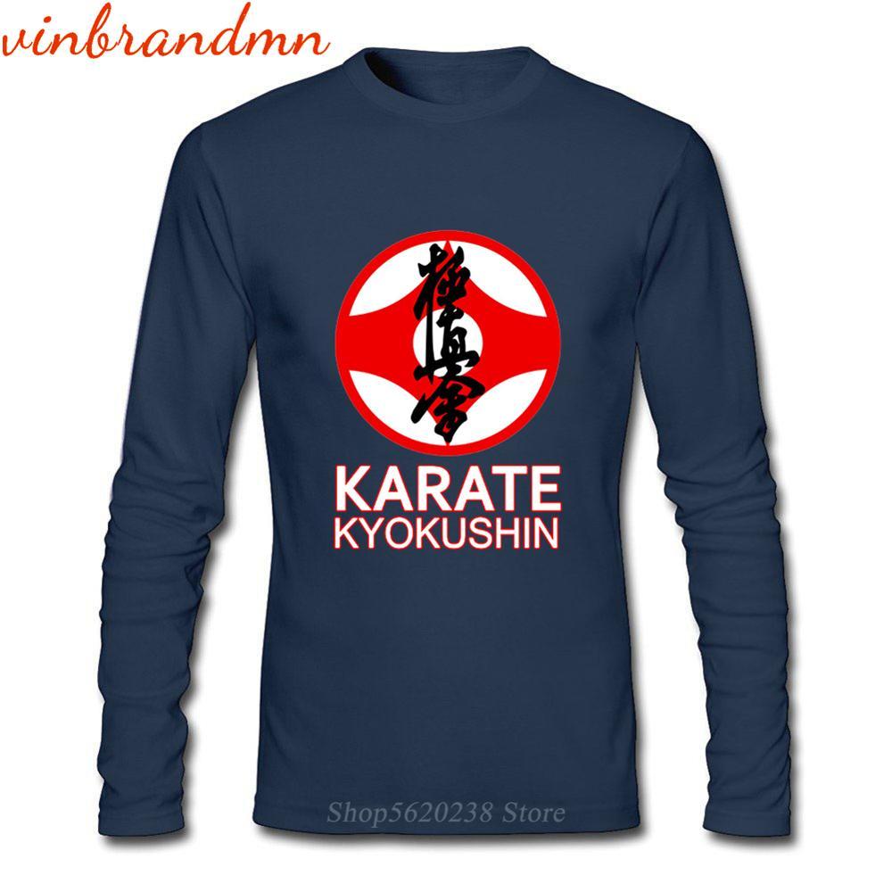 Divertidas camisetas de manga larga Kanji Kung Fu kárate para hombres, camisetas de kung-fu, Kyokushin, símbolo de Karate, camisetas masculinas con diseño gráfico