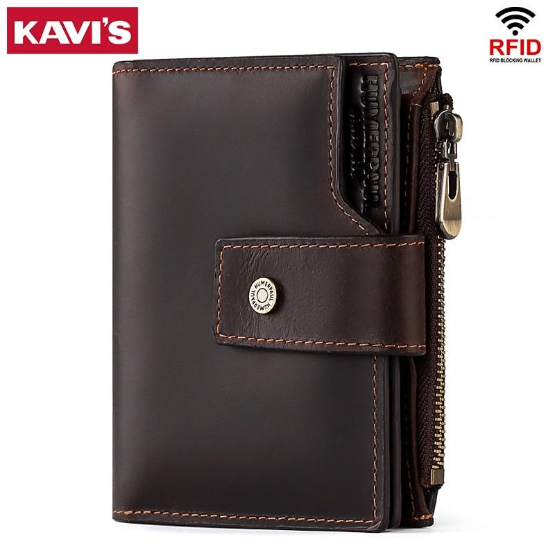 KAVIS العلامة التجارية 2020 جلد البقر الذكور محفظة الرجال بطاقة حامل مخلب Portomonee بيرس صغيرة عملة محفظة جيب Walet المال أكياس