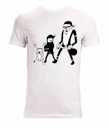 T-shirts de natal da arte do natal de tim finn jake e de santa lich