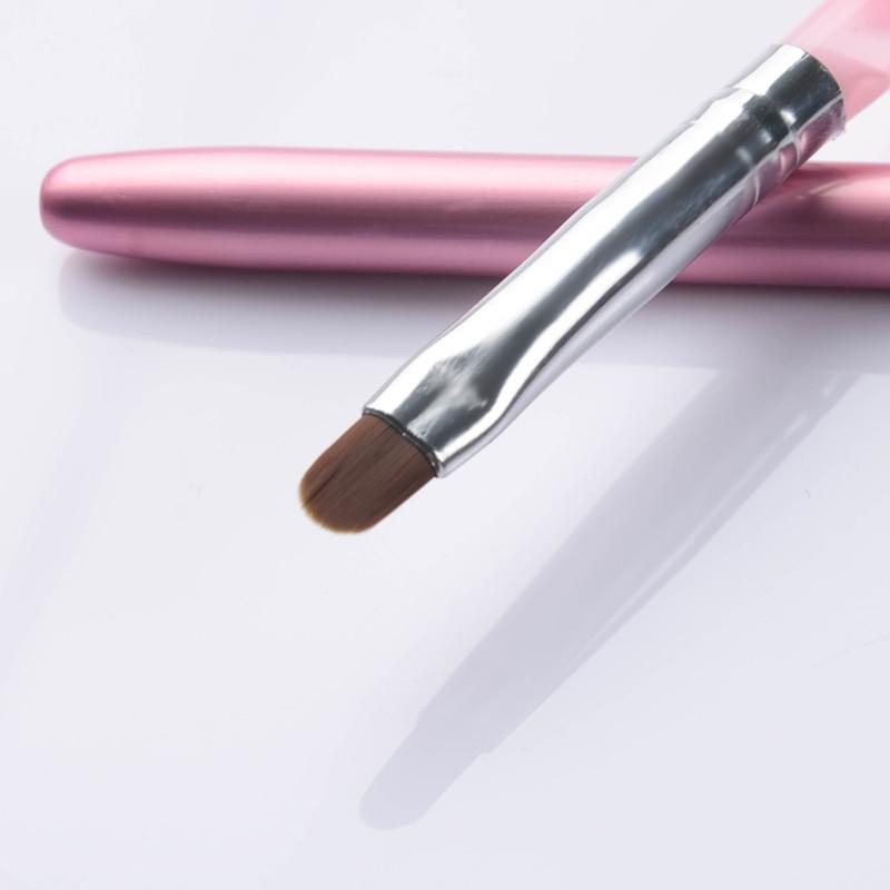 1 pincel de Gel UV para arte de uñas rosa con tapa herramientas de arte de uñas para esmalte de uñas de Gel UV