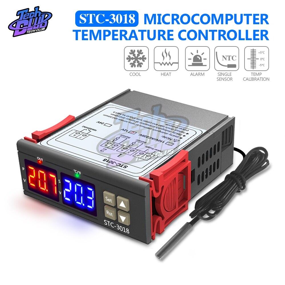 STC-3018 12v 24v 220v termostato c/f digital controlador de temperatura incubadora aquecimento/resfriamento termorregulador duplo display led