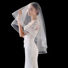 Короткая Свадебная вуаль с краем ленты, один слой без гребня, белый цвет слоновой кости, аксессуары для невесты, вуаль Velo Novia 2020