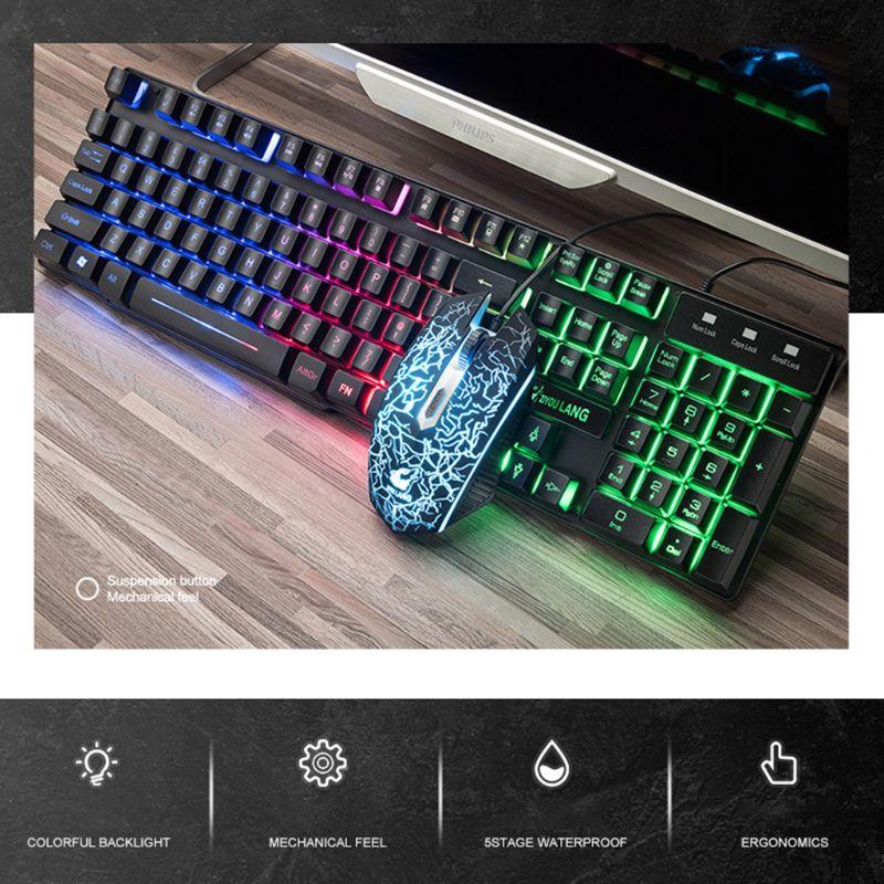 1 Juego de teclado de tecla de botón T11 versión en inglés retroiluminación arcoíris Teclado mecánico ratón para PC ordenador portátil Kit de juegos de escritorio