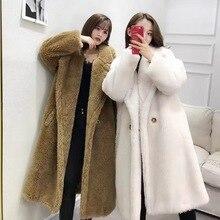 women winter 2019 coats real sheepskin fur female jacket loose big plus size warm thick natural lamb fur coats luxury brand