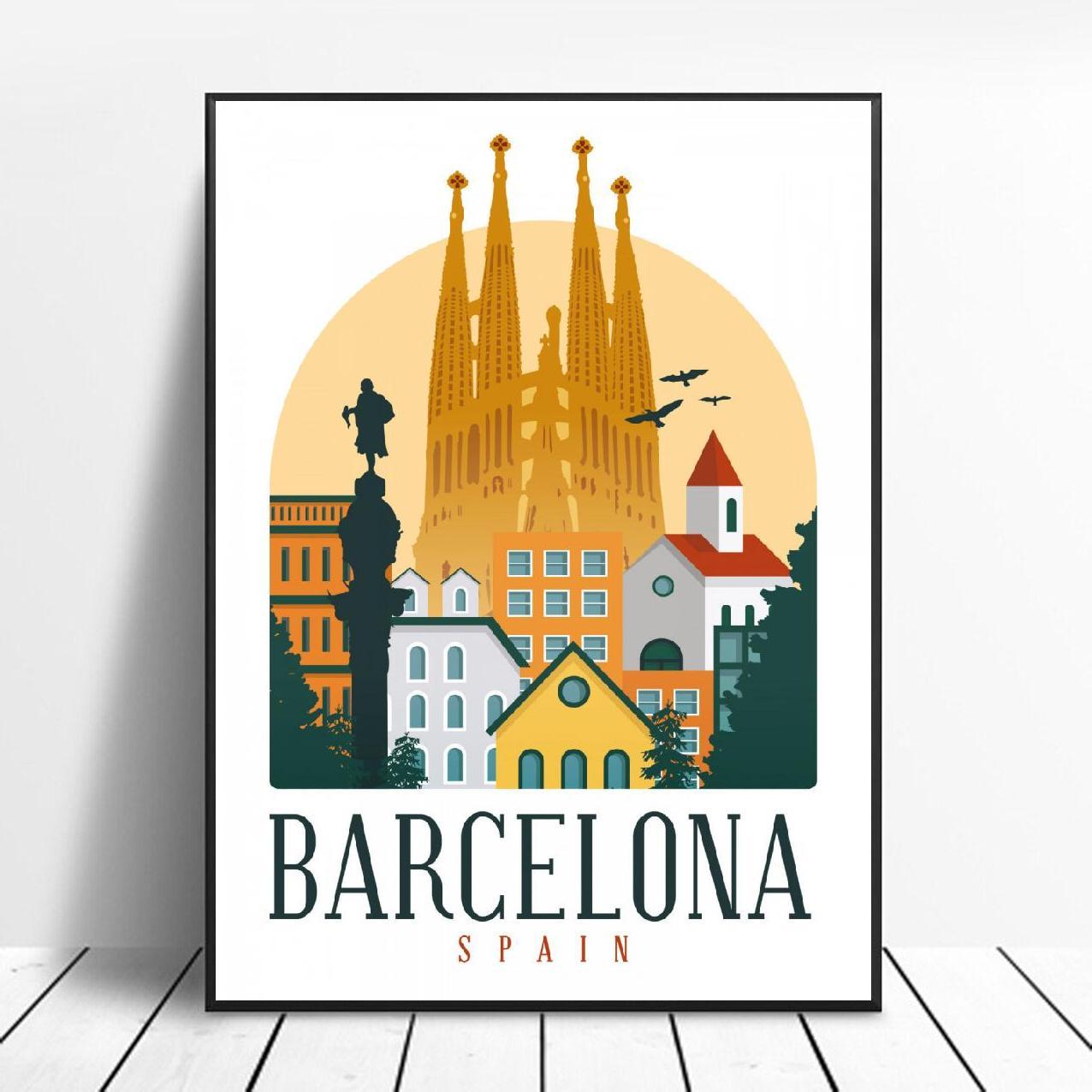 Póster Artístico de lona con estampado de Barcelona para pared, imagen moderna...
