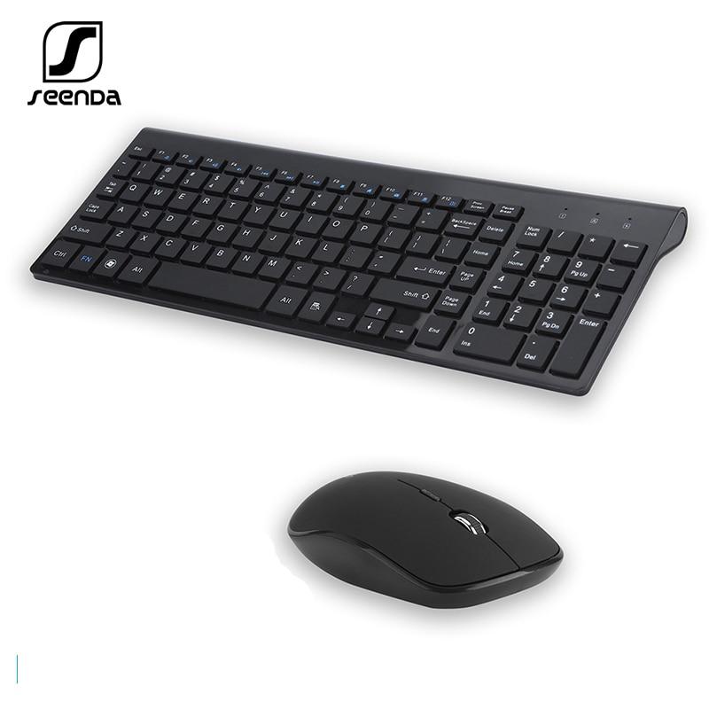 SeenDa-لوحة مفاتيح وماوس لاسلكي 2.4 جيجا هرتز ، ملحق كامل الحجم روسي/إسباني للكمبيوتر المحمول والكمبيوتر المحمول