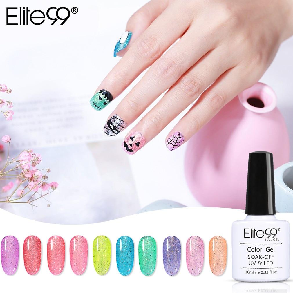 Elite99 Nail Art Glitter Rainbow Candy Series Nail Gel Soak Off Led Lamp Permanent Nail Polish Top Base Coat Primer For Nails
