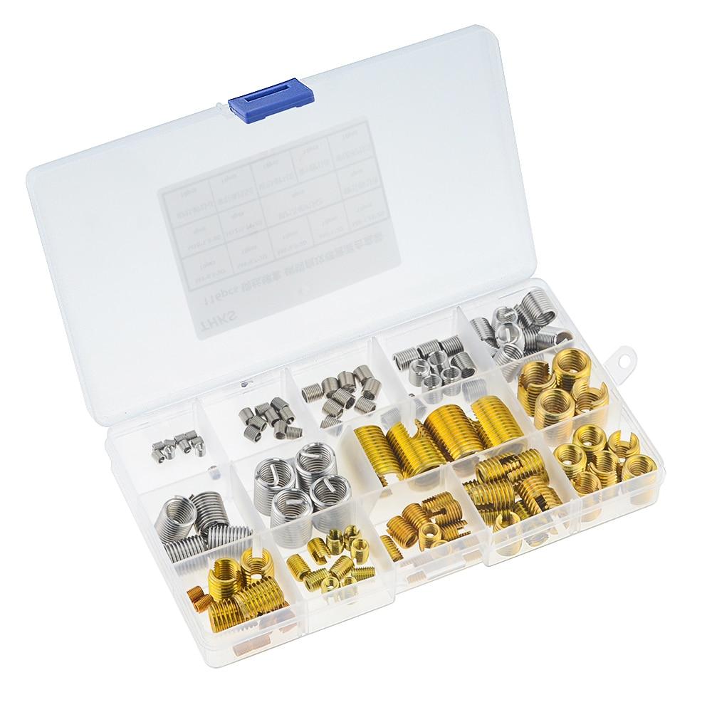 116 unids/caja M3-M12-machuelo ranurado vaina y rosca de alambre de chaqueta combinación hilo reparación herramientas