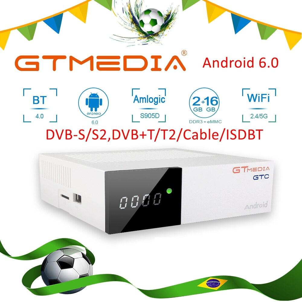 Brasil GTmedia GTC Android caja de TV Digital para Amlogic S905D Tv Box DVB-S2 receptor de satélite DVB-T2/T ISDBT Android6.0 TV Box