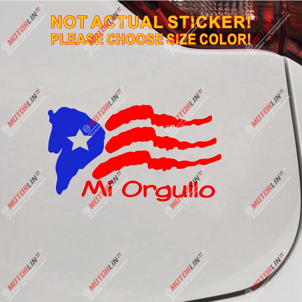 Pegatina de bandera de Puerto Rico PR Mi Orgullo, pegatinas de vinilo para autos, tamaño a escoger, no bkgrd