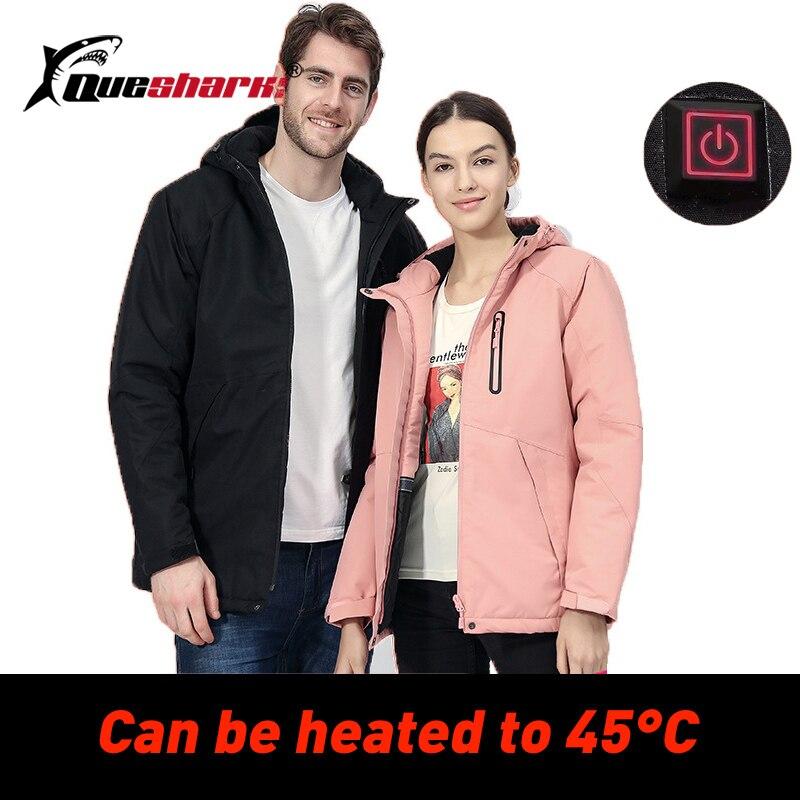 USB Heated Ski Jacket Men Women Winter Warm Fleece Ski-wear  Hiking Camping Waterproof Windproof Couple Snow Snowboard Coat