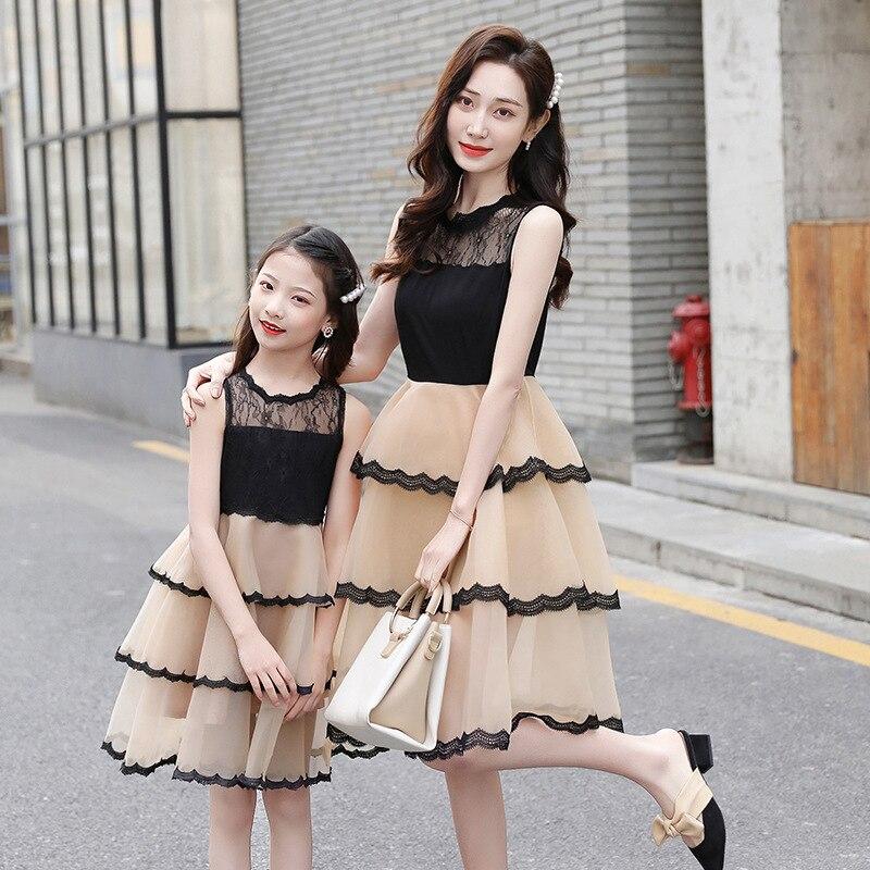 Wlg mamãe e eu vestidos família combinando roupas mãe filha verão malha retalhos sem mangas vestido de princesa