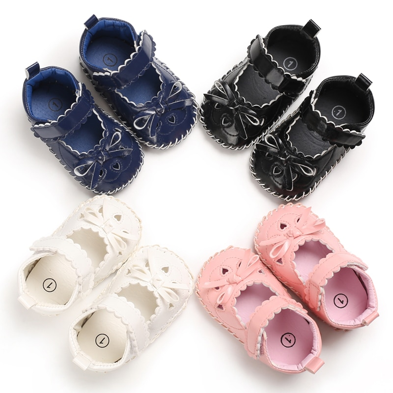 Newborn Baby Girls Shoes PU leather First Walkers With Bow Princess Infant Soft Soled Non-slip Crib Shoes
