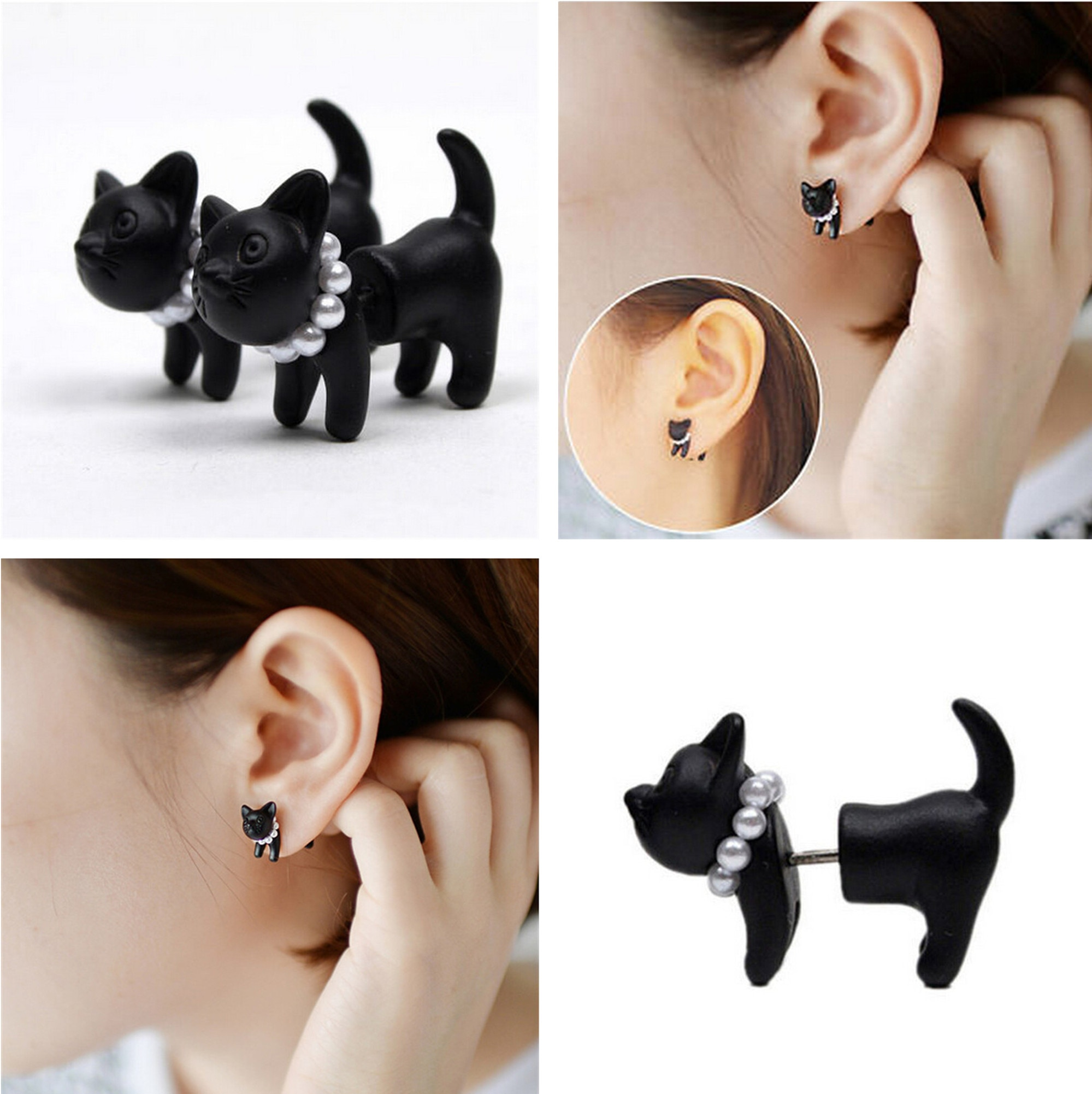 Creative 3D Animal Earrings Cartoon Kitten Lovely Ear Stud Earrings Jewelry For Women Girls Female M