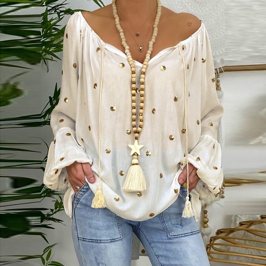 Plus Size Women Blouse V-neck Tassel Tops Dots Print Long Flare Sleeve Loose Pullover Female 2021 Summer Fashion Long Blouses #S