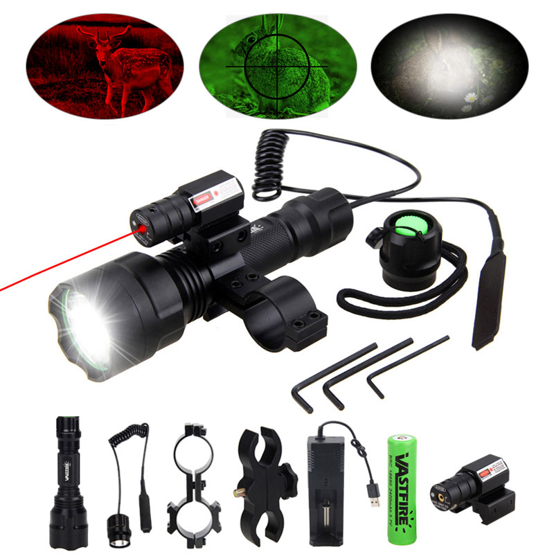 Tactical Flashlight Torch Hunting Lamp C8 LED flash light+Laser Dot Sight Scope+Switch+ Rail Barrel Mount+18650 battery+Charger 10w ir 940nm infrared night vision hunting flashlight led outdoor tactical weapon torch 18650 charger 3 rifle scope mount switch