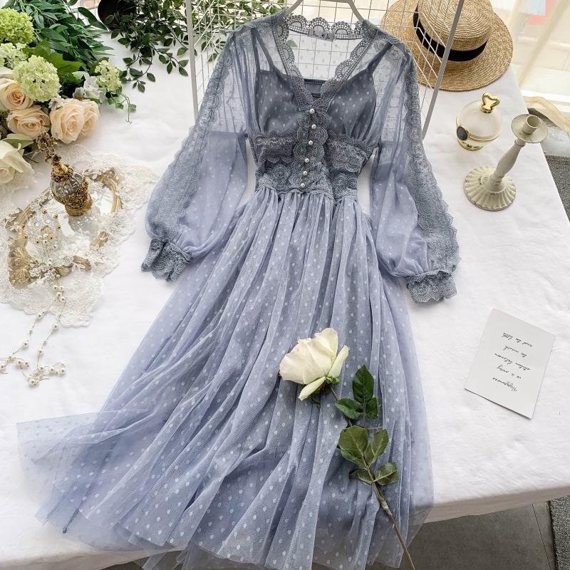 Women Mesh Lace Crochet Dresses V-neck Elegant Prom Puff Sleeves Dress Women Sexy Slim Swing Long Dr