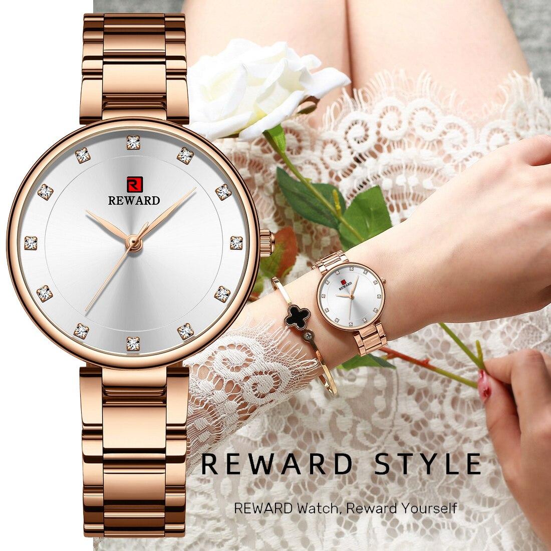 REWARD Women Watches Top Brand Luxury Stainless Steel Strap Rhinestone Crystal Quartz Analog Ladies