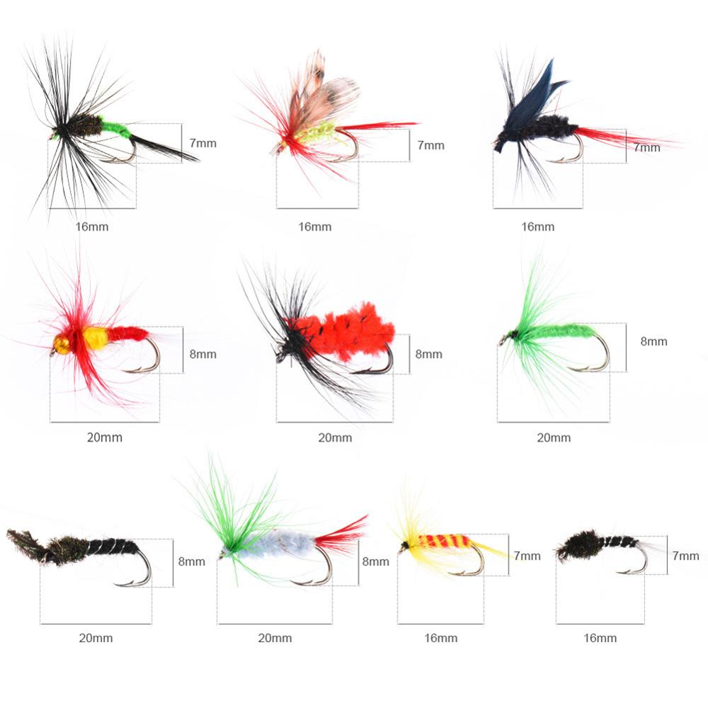 Flies Kit Fly Hooks Fishing Lures Set Freshwater and Saltwater Dry Flies Colorful Lures Fly Fishing Lures enlarge