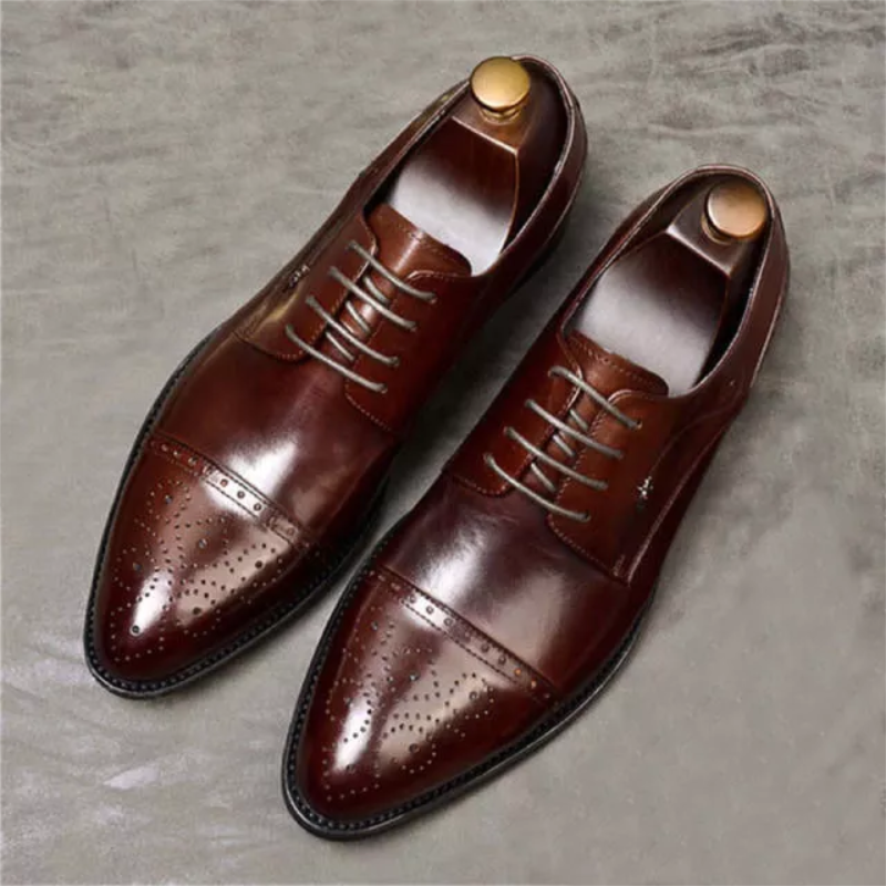 Men's High-end Dark Brown PU Classic Pointed Toe Hollow Low-heel Comfortable and Fashionable Casual Dress Oxford Shoes  ZQ0029