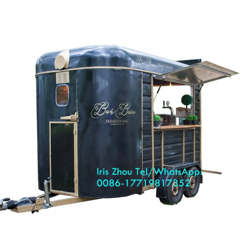 Vintage Mobile Food Truck Trailer Eye Catching Horse Box Bar For Wine Bar