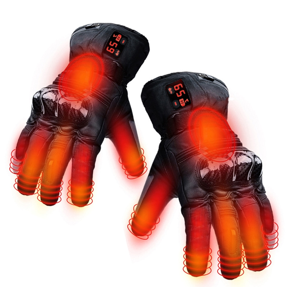 1Pair EU Plug Electric Rechargeable USB Thermal Heating Gloves Waterproof Windproof Protector Gloves Winter Outdoor Cycling Ski