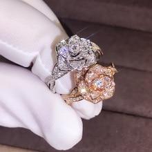 Nouveau Rose or blanc or délicat fleur anneaux cubique zircone anneaux de mariage pour les femmes bijoux de mariée