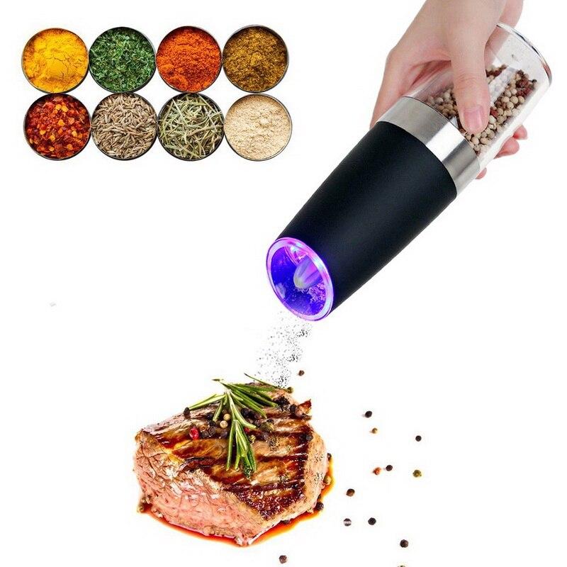 Molinillo Eléctrico automático de pimienta, sal, pimienta, botella molienda, luz LED, utensilios de moler condimentos de cerámica para cocina, molinos de sal