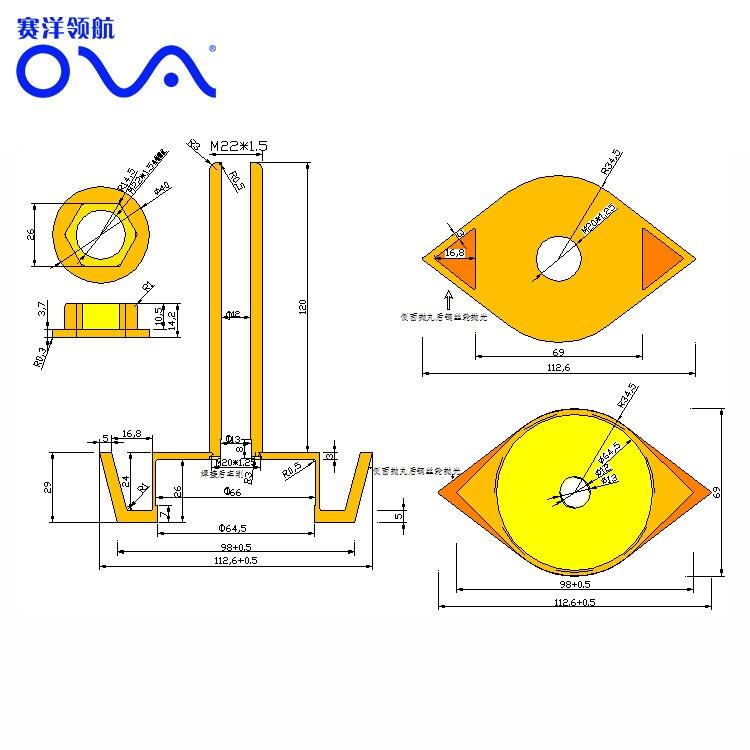 Depth measurement ultrasonic transducer bronze thru hull 200khz depth finder transducer enlarge