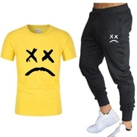 2021 fashion hot sale mens sets t shirtspants two pieces sets casual tracksuit male new casual tshirt fitness trousers men