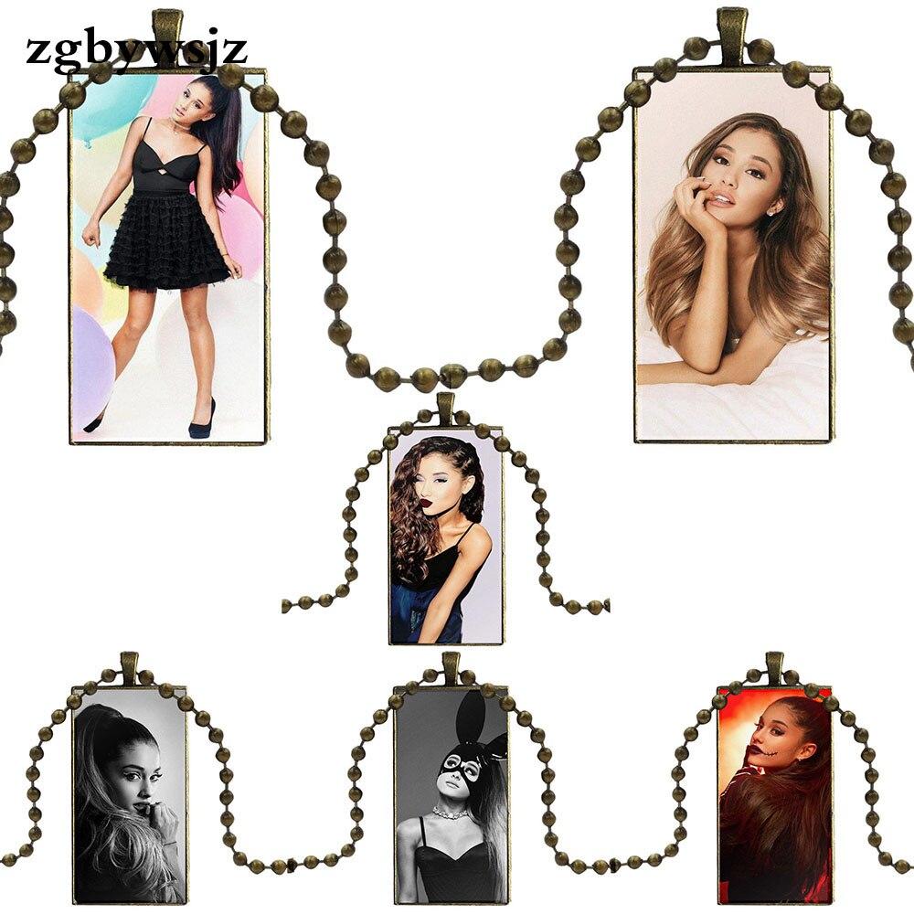 Pour saint valentin cadeau Pop Star Sexy Gril Ariana Grande conception de mode Vintage verre femmes Rectangle collier nom pendentifs