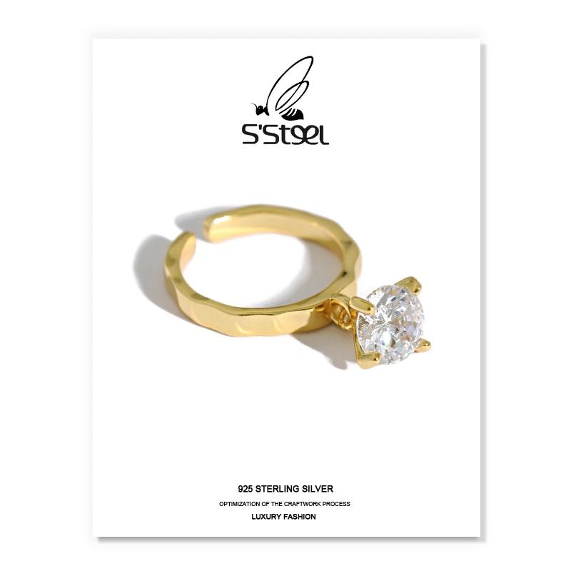 S'STEEL Zircon Rings Gift For Women 925 Sterling Silver Korean Luxury Designer Minimalist Ring Anillo De Compromiso Jewellery