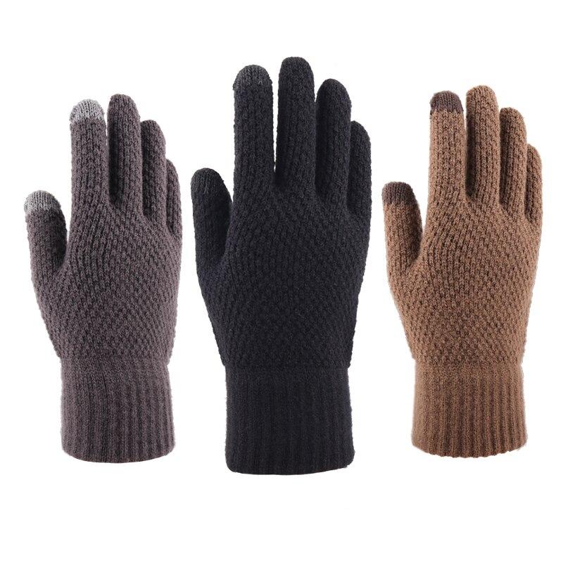 Мужские зимние трикотажные перчатки с заостренными пальцами, бархатные плотные шерстяные теплые перчатки для сенсорных экранов, велосипед...