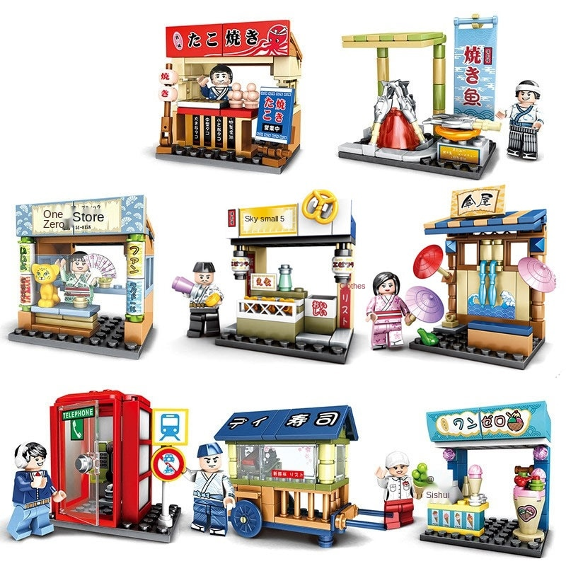 Sembo 3D Model Blocks Building Toy For Children Boys Birthday Gifts Street View Japanese Mini City Street Diy Bricks For Girls 280 pcs mini city street view building blocks coffee shop hamburger store city diy bricks toys for children christmas gifts